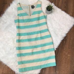 Taylor Aqua Ivory Striped Dress Eyelet Lace 4